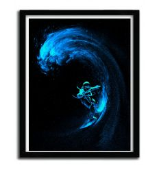 Affiche Space Surfing Blue Wave par Nicebleed