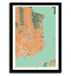 Affiche San Francisco orange by PLANOS URBANOS