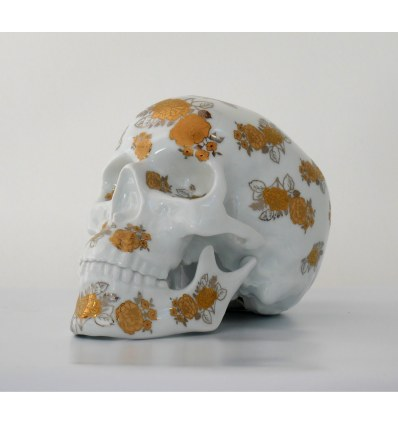 Skull Gold Flowers by NooN