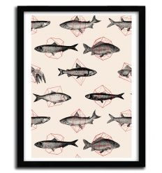 Affiche fishes in geometrics by Florent Bodart