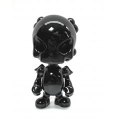 Sculpture SkullHead Black Porcelain by Huck Gee