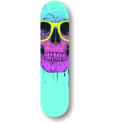 pop art skull with glasses skate by Balasz Solti