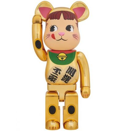 Sculpture bearbrick 1000% Maneki Neko Peko (Gold)