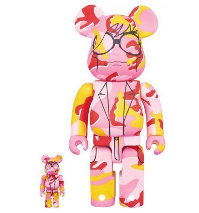 Sculpture 400% & 100% Bearbrick set - Andy Warhol (Pink Camo)