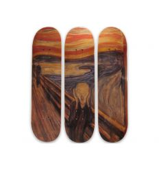 Piet Mondrian Skateboard Triptych – Musart on Decks – Composition in Red, Blue, and Yellow (1930)