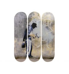 Skateboard Triptych – Grey Ghost inspired by BANKSY