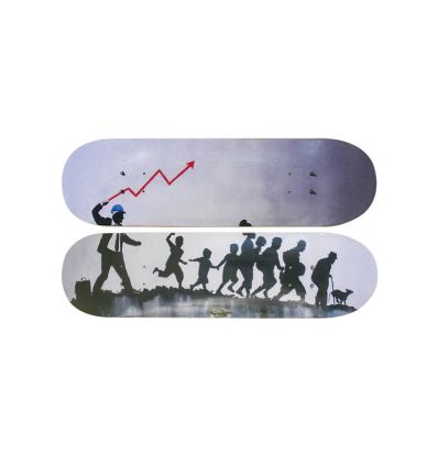 Skateboard Diptych – Crack the Whip inspired by BANKSY