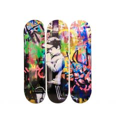 Skateboard Triptych – Please Forgive Me inspired by BANKSY
