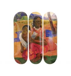Piet Mondrian Skateboard Triptych – Composition in Red, Blue, and Yellow (1930)