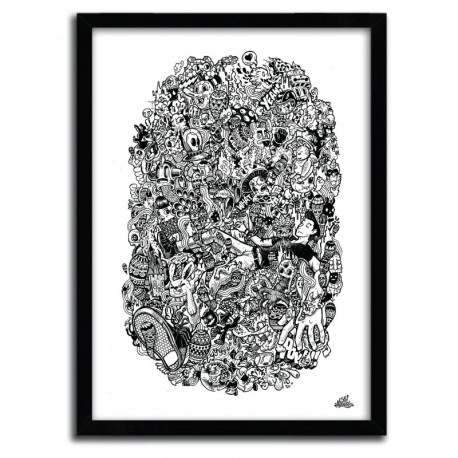 Affiche Doodle Float Black and White by Lei Melendres