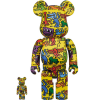 Sculpture 400+100% Bearbrick - Keith Haring V5 Yellow[PRE-ORDER]