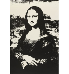 Mona Lisa Black Print by Andy Warhol