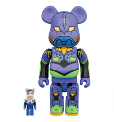 Sculpture Bearbrick 400% & 100% set - Eva-01 - Evangelion 2.0 Purple