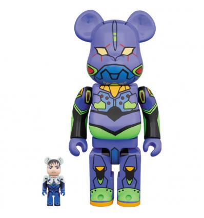 Sculpture Bearbrick 400% & 100% set - Eva-01 - Evangelion 2.0 Purple