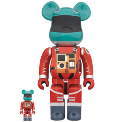 Sculpture Bearbrick 400% & 100% set 2001: A Space Odyssey Space Suit Green & Orange
