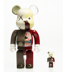 Sculpture 400% & 100% Dissected Companion Bearbrick set Red by KAWS
