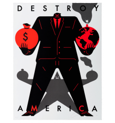 Print Destroy America White by CLEON PETERSON