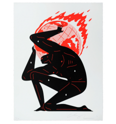Print World On Fire White by CLEON PETERSON
