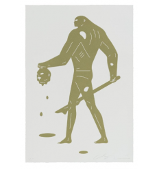 Print Headless Man Gold and White by CLEON PETERSON