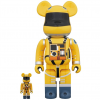 Sculpture Bearbrick 400% & 100% 2001: A Space Odyssey Space Suit Yellow
