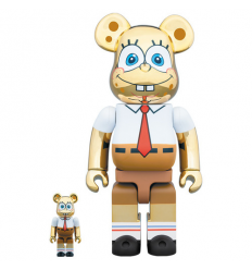 Sculpture Bearbrick 400% & 100% Spongebob Gold Chrome