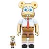 Sculpture Bearbrick 400% & 100% Spongebob Gold Chrome