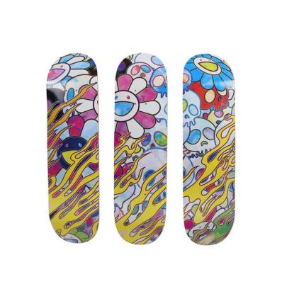 Skateboard Skull & Flower Black by TAKASHI MURAKAMI