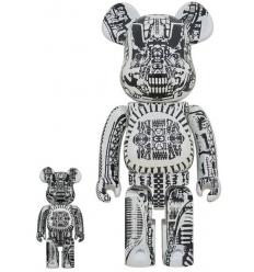 Sculpture 400+100% Bearbrick - H.R. Giger White Chrome [Pre Order]