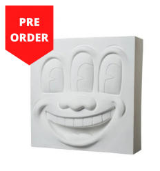 Sculpture Three-Eyed Smiling Face Statue White Polystone by Keith Haring