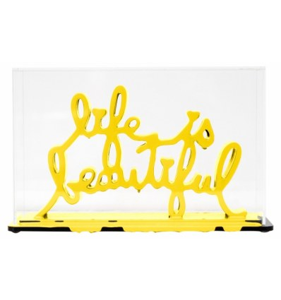 Sculpture Life Is Beautiful Yellow by Mr Brainwash