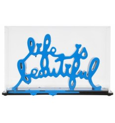 Sculpture Life Is Beautiful Blue by Mr Brainwash