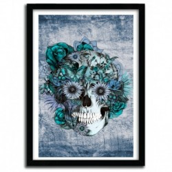Affiche BLUE GRUNGE OHM SKULL by KRISTY PATTERSON