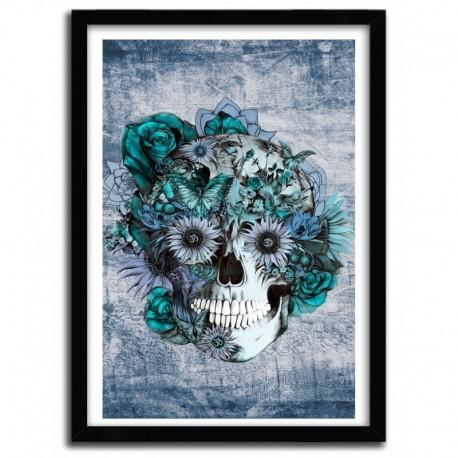 Affiche BLUE GRUNGE OHM SKULL by KRISTY PATTERSON